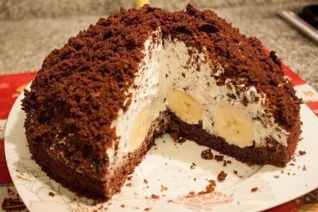 шоколадный торт с творогом и бананами фото