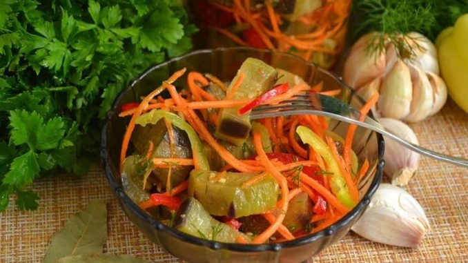 фото салата на зиму из баклажан с болгарским перцем и морковью