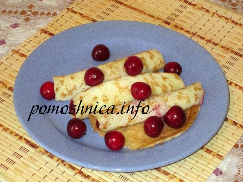 Блинчики с черешневой начинкой рецепт с фото