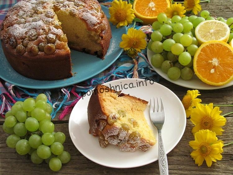 фото готового виноградного пирога по рецепту Джейми Оливера