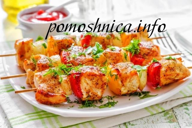 Шашлык из курицы на кефире с помидорами фото