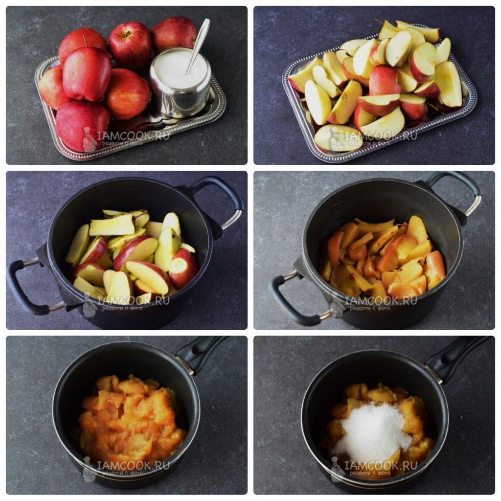 Тушим яблоки и добавляем сахар для приготовления мармелада фото