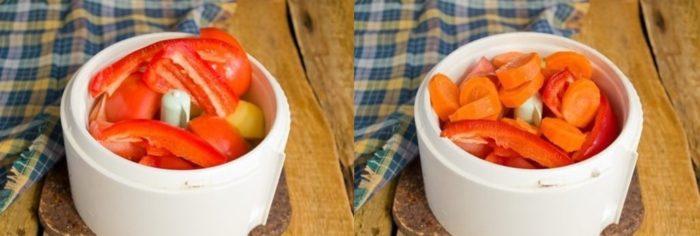 очищенные овощи перед измельчением в блендере