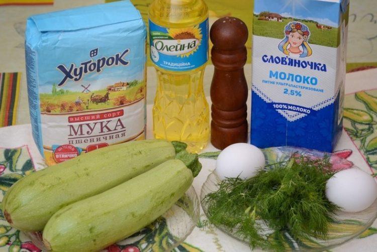 фото ингредиентов для кабачковых блинчиков с укропом