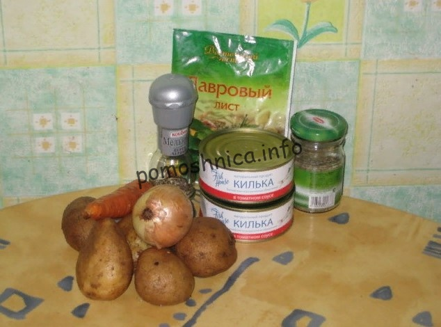 продукты для супа с килькой в томате фото