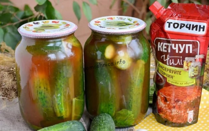 фото к рецепту заготовки огурцов в кетчупе