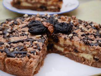 фото пирога с творогом, шоколадом и черносливом