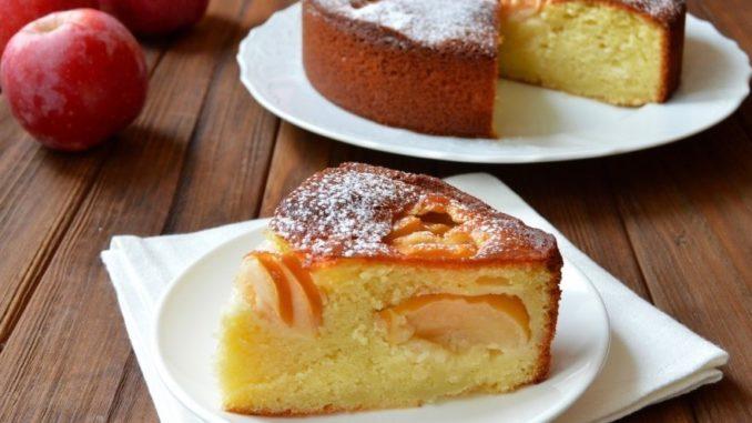 фото пирога из творога и яблок пышного