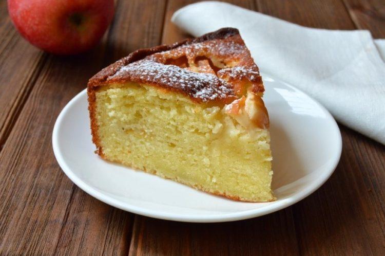фото яблочного пирога на творожном тесте пышного