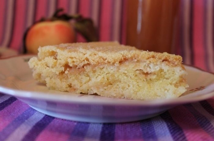 кусочек насыпного яблочного пирога из мультиварки от сайта pomoshnica.info