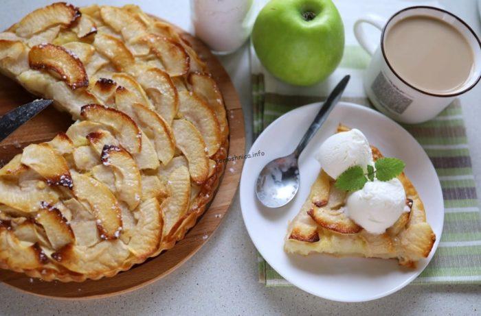 фото варианта подачи французского яблочного пирога