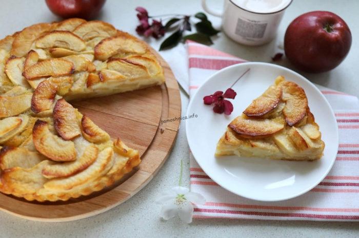 фото пирога с яблоками по французскому рецепту в разрезе