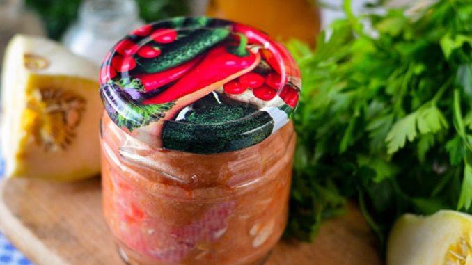 фото к рецепту икры из патиссонов с майонезом и томатной пастой