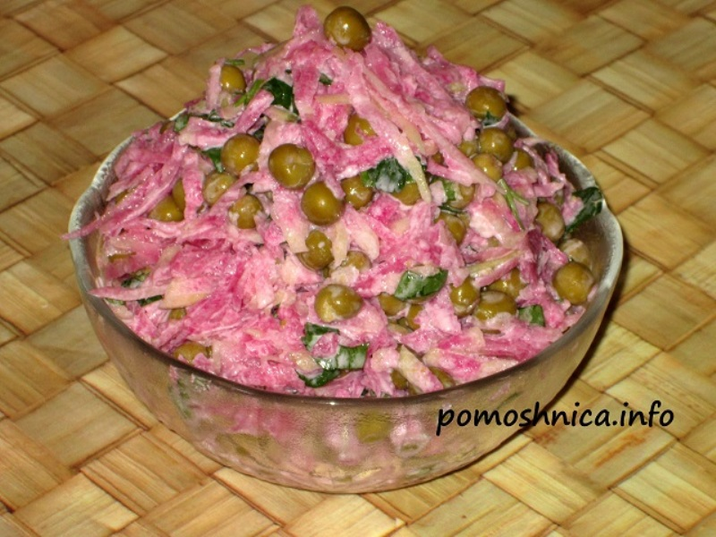 Вкусный салат с розовой редиски