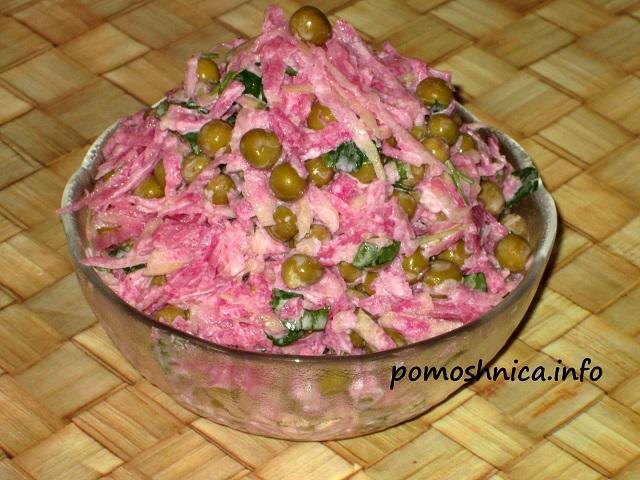 салат из розовой редьки с зеленым горошком подробный рецепт