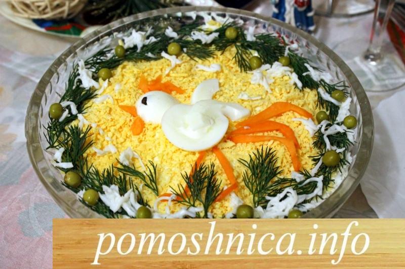 украшение салата с курицей черносливом орехами фото